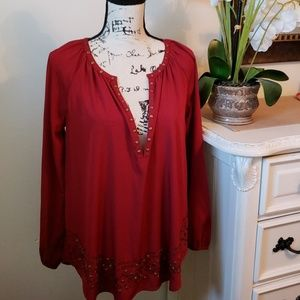 Garnet blouse with beads and studs
